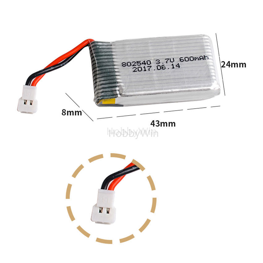 3.7V 1S 600mAh 25C LiPO Battery mx2.0-2P plug fit for Syma X5C RC Quadcopter Racing FPV Drone image