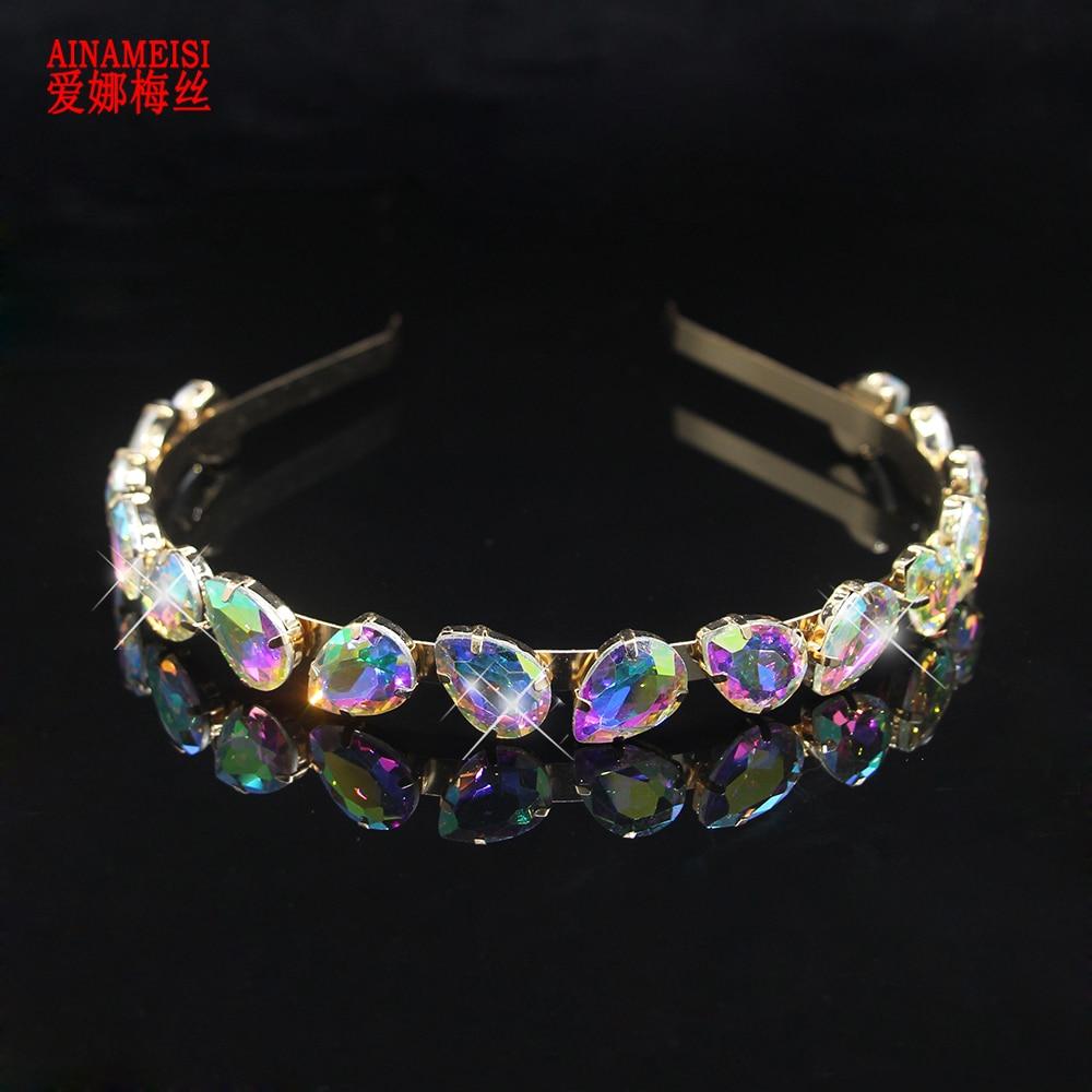 Jewelry Headbands Tiaras Hair-Accessories Rhinestone Crystal Bridal-Crown AINAMEISI Luxury