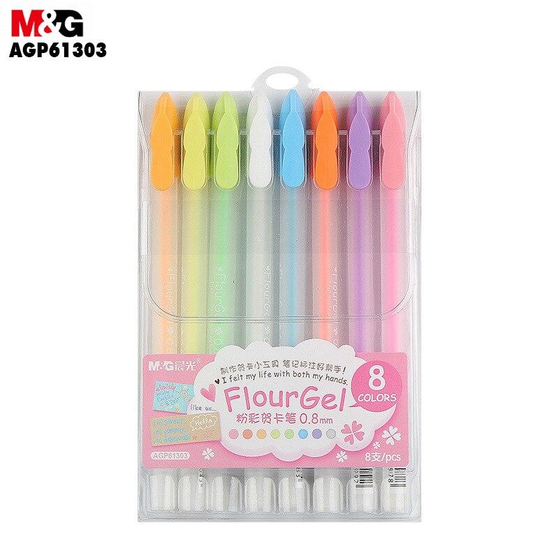 M & G Пастельная Акварельная ручка. 8-Цвет нейтральная ручка. Набор ручек для поздравительных открыток с Пастельными красками 0,8 мм