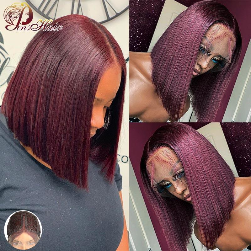 Cheap Bob Wig Malaysian Lace Part Human Hair Wigs Burgundy Red 99J Blonde Bob Lace Wigs Straight Short Bob Wigs For Black Women