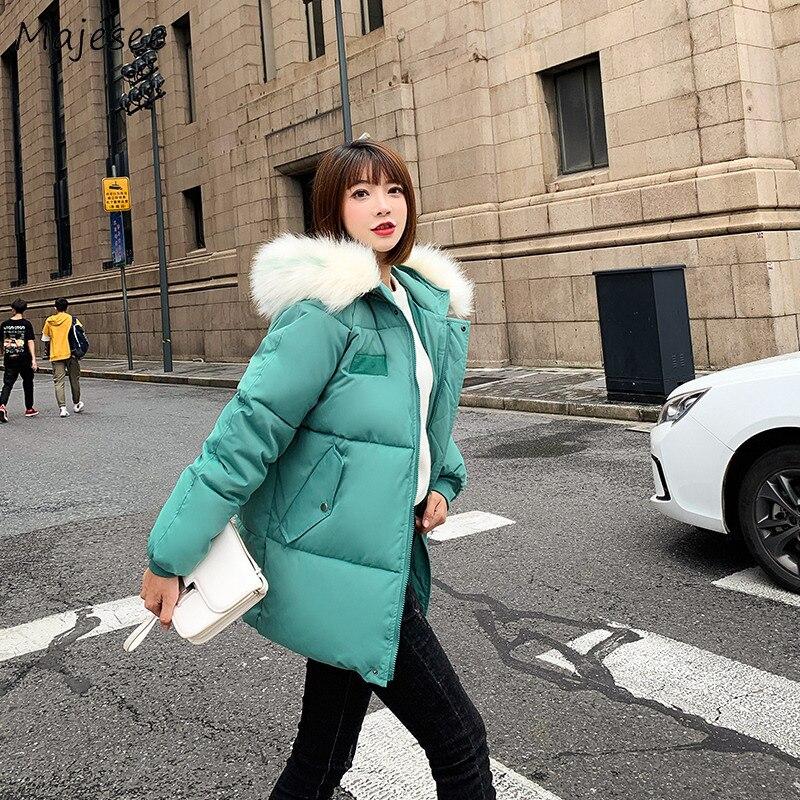 Парка женская одежда 2019 корейская мода кавайная однотонная простая Универсальная Женская парка зимняя теплая ветронепроницаемая