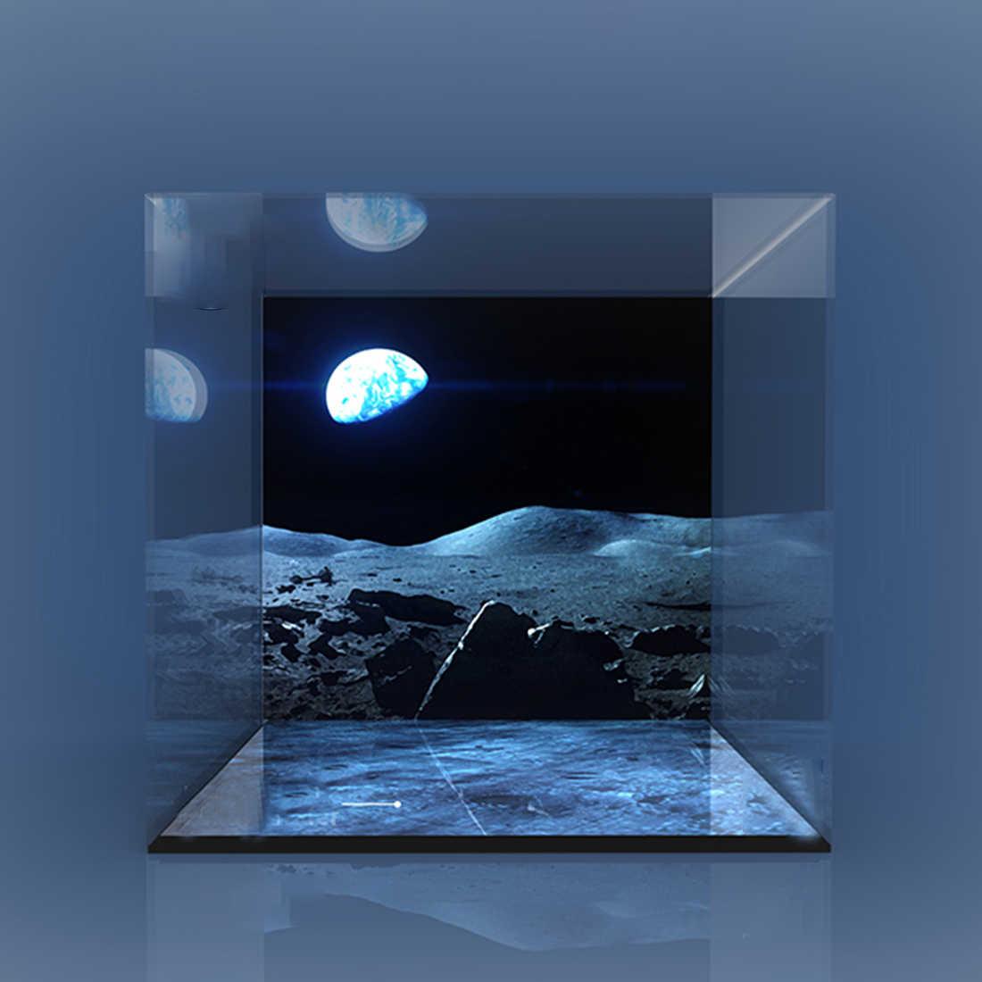 Yapı taşı akrilik toz geçirmez ekran kutusu gösterisi durumda Apollo 11 ay Lander seti 10266 (ekran kutusu sadece, hiçbir kiti)- 3 ışıkları