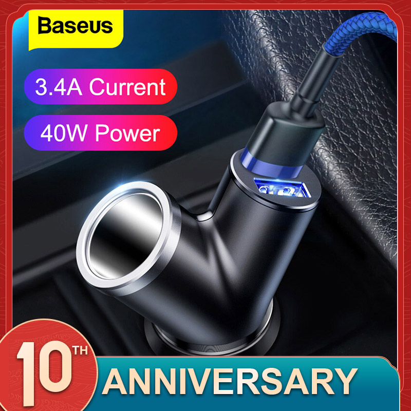Baseus Car Charger 40W Double USB Shunt For IPhone Samsung Xiaomi Mi 3.4A Fast Car Charger Power Adapter Car Cigarette Lighter