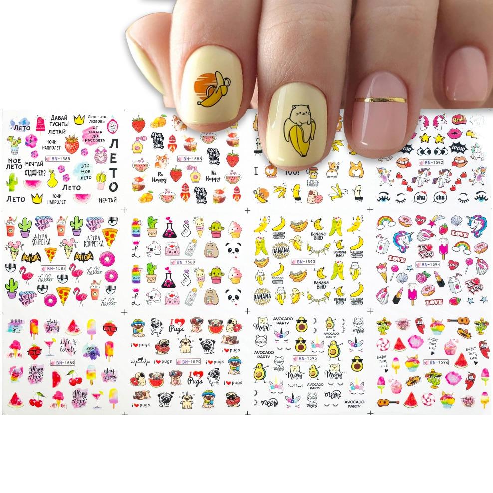 12 видов конструкций женские летние сандалии смешанных фруктов сладостей мороженого водяные наклейки для ногтей Стикеры набор с милыми жив...