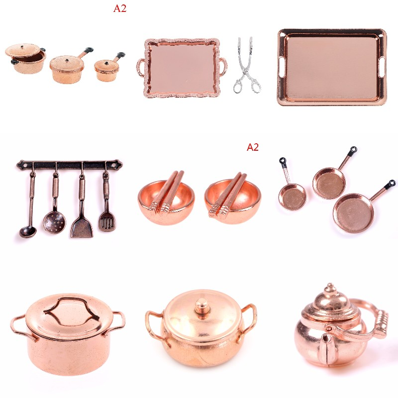 1:12 Scale Dollhouse Miniature Rose Gold Color Frying Pan Cooking Pot Kettle Cookware Kitchen Cooking Kit Dolls Accessories