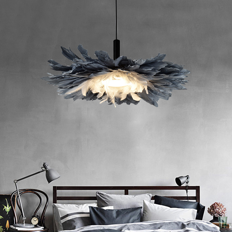 New Bedroom LED Chandelier Nordic Gray Feather Lamp Warm Art Children