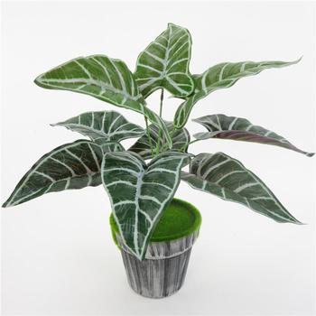 Planta Artificial realista de Alocasia, planta falsa de rayas de cebra para...