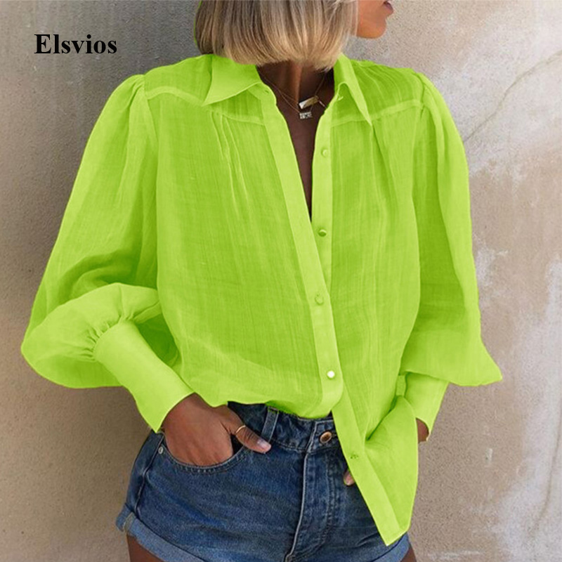 Elegant Spring Neon Green Shirt Blouses Autumn Women Puff Long Sleeve Loose Blouse Solid Office Lady Notched Buttons Tops Blusa