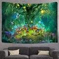 Fantasie Pilz Wald einhorn Burg Tapisserie Märchen Trippy Bunte Schmetterling Elfen Wand Hängende Tapestry für Wohnkultur