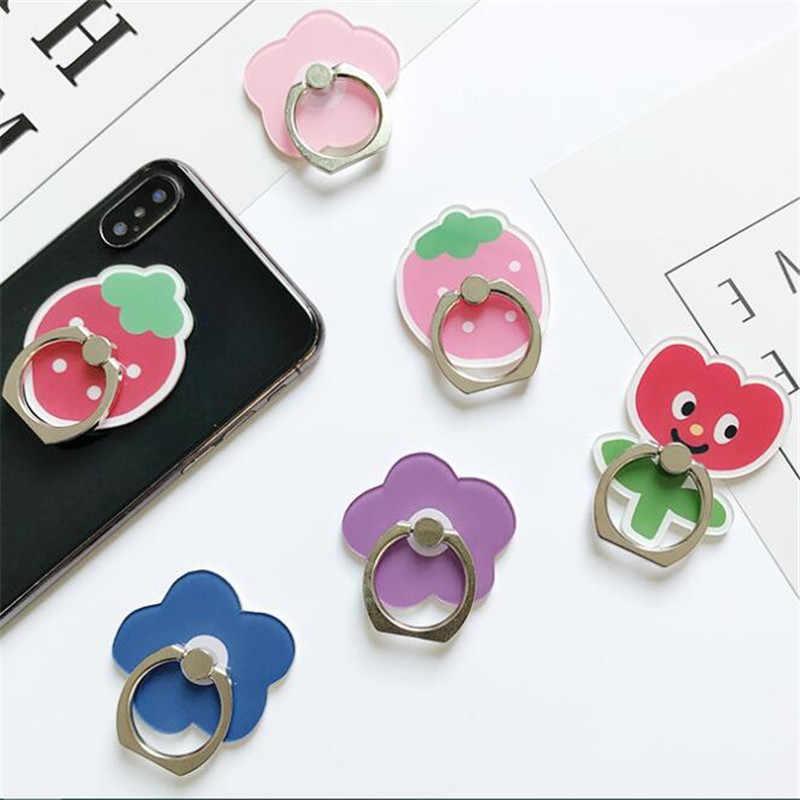โทรศัพท์มือถือนิ้วมือแหวนสตรอเบอร์รี่ดอกไม้โทรศัพท์สมาร์ทโฟนสำหรับIPhone Huaweiโทรศัพท์ทั้งหมด