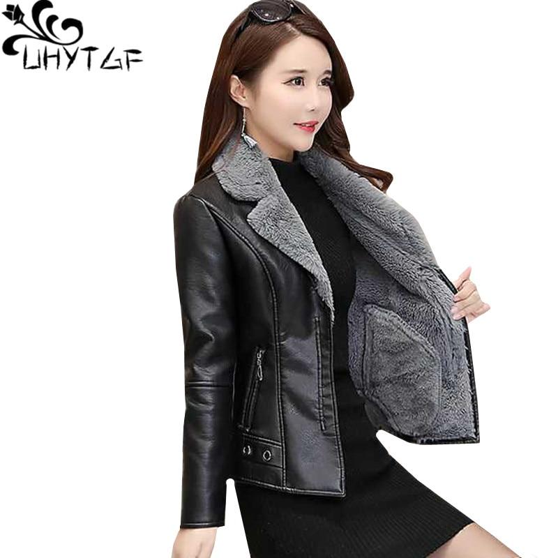 UHYTGF Women   leather   jacket Plus velvet thick warm winter   leather   jacket High quality PU   leather   short coat female Plus size 721