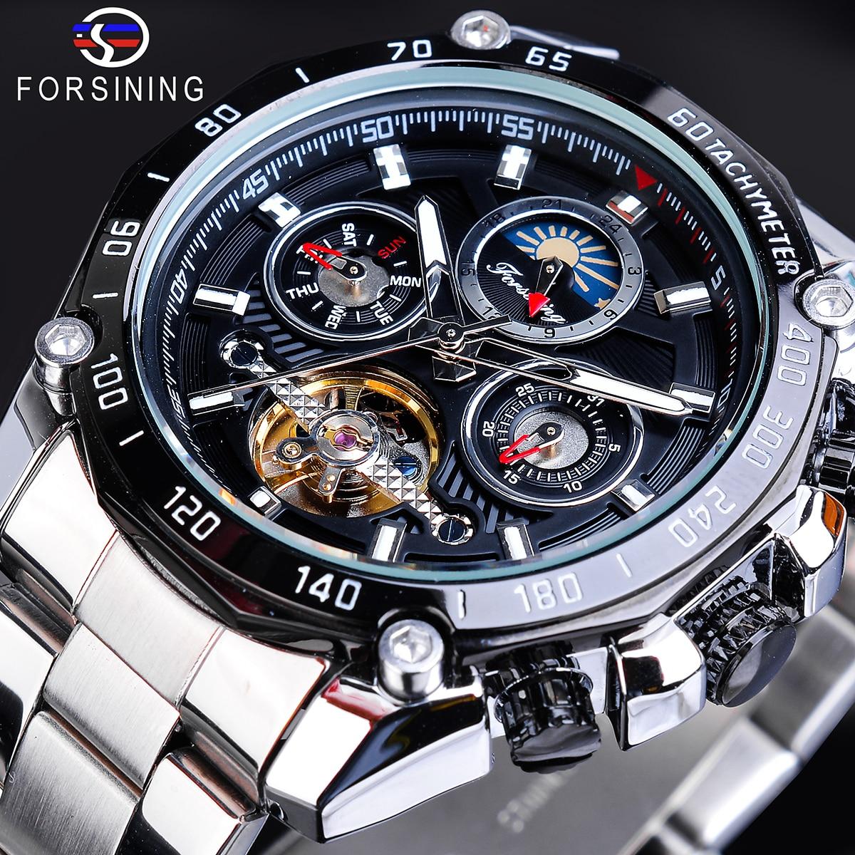Forsining Classic Black Men's Mechanical Watch Tourbillon Automatic Moon Phase Calendar Military Sport Steel Wristwatch Relojes