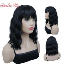 Aimolee Womens Medium length Curly Black Wig Natura Neat Bang Style Synthetic Wigs Hair