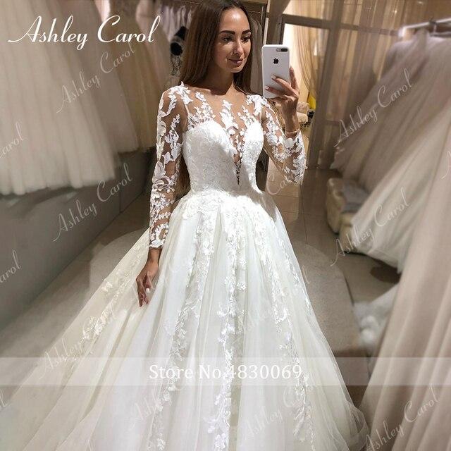Ashley Carol Long Sleeve Princess Wedding Dress 2021 Tulle Bride Dresses Chapel Train Appliques Bridal Gowns Vestido De Noiva 4