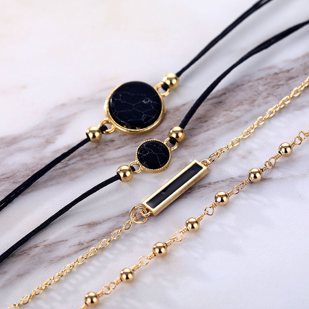 Vienkim Bohemian Black Gem Stone Beads Bracelets Bangles For Women Heart Map Ocean Gold Color Chain Bracelets Sets Jewelry Gifts