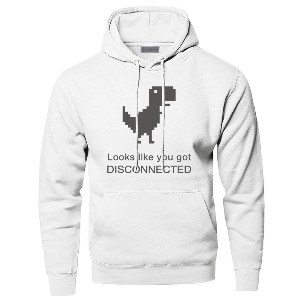 Looks Like You Got Disconnected Dinosaur Hoodie Men Sweatshirt Winter Warm Cute Pullover Sweatshirts Hooded Hoodies Funny Hoody
