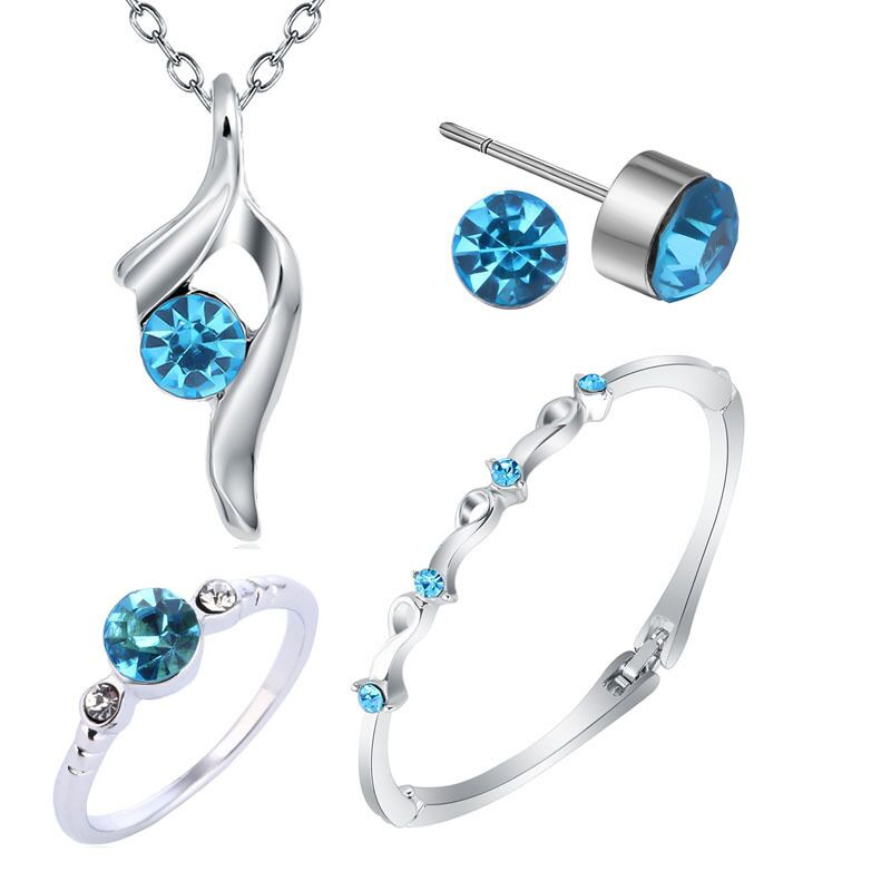 Exquisite Jewelry Set 925 Sterling Silver Suitable For Women's Wedding Explosion Blue Crystal Necklace Bracelet Ring Earrings