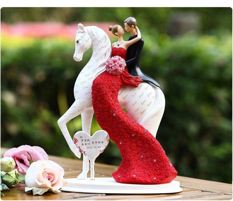 Mariée et le marié sur le cheval gâteau de mariage topper figurines décoration de mariage cadeaux faveurs fiançailles/cadeaux d'anniversaire