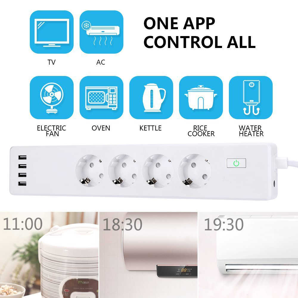 Wifi Smart Power Strip Surge Protector 4 Eu Plug Outlets Elektrische Socket Met Usb App Voice Afstandsbediening Door Alexa google Thuis