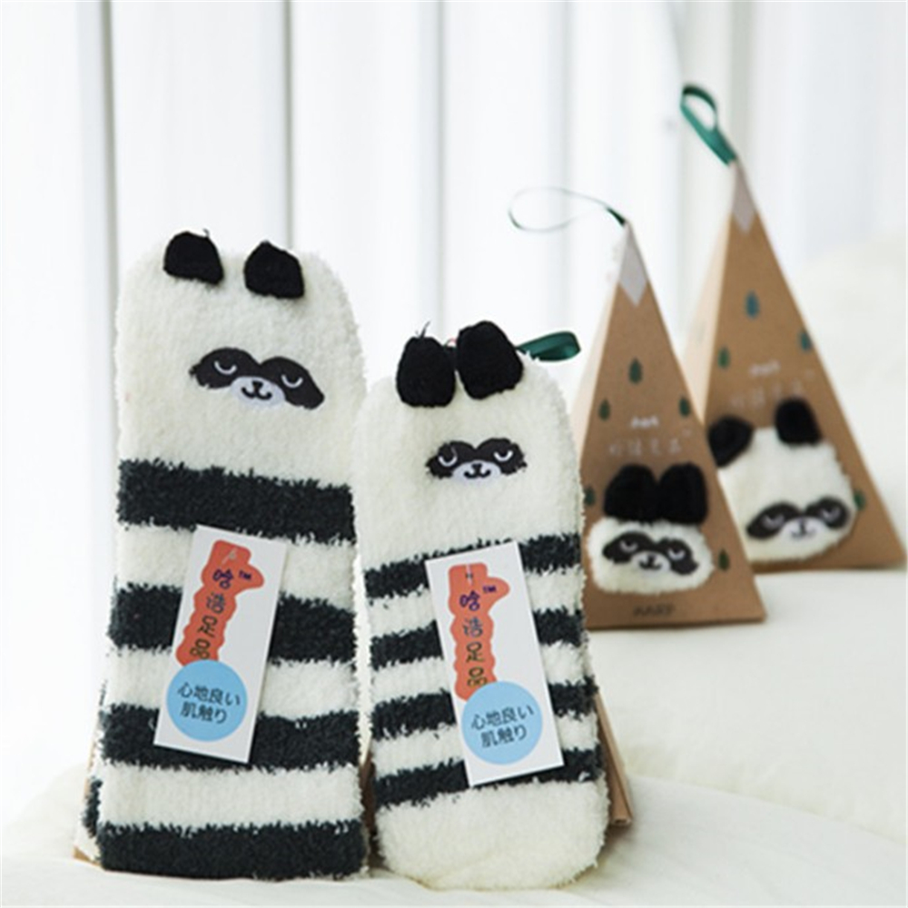 Christmas Cartoon 3D Three-dimensional Socks Autumn Winter New Coral Velvet Thickening Half Home With Box 20
