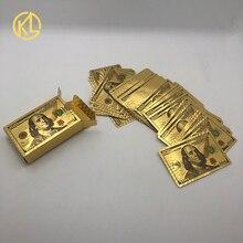 Покрытыем цвета чистого 24 каратного золота с серебряным покрытием мозаика доллар США Дубай дизайн игральные карты для покера с сертификато...
