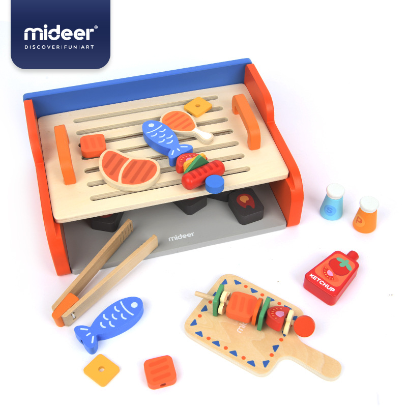 MiDeer Baby Pretend Play Toys Simulation Grill Wooden Double Layer Safety Education 3Y+ Barbecue Boy & Girl Kitchen Gifts