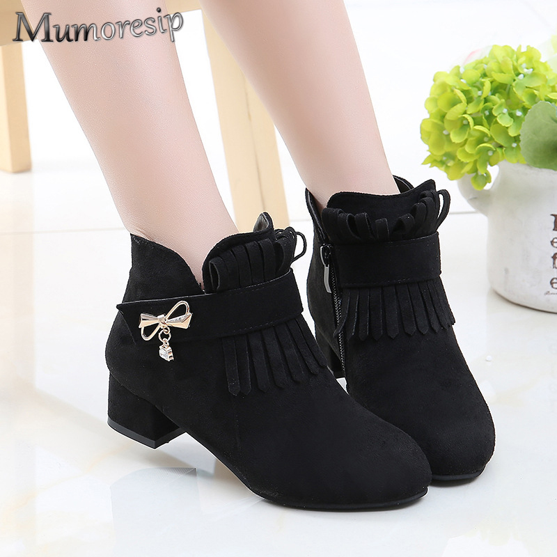 Mumoresip 2019 Fashion Brand New Girls Boots Kids Ankle Boots For Big Girl Chilren Chic Princess Boots Warm Cotton Tassel Fringe