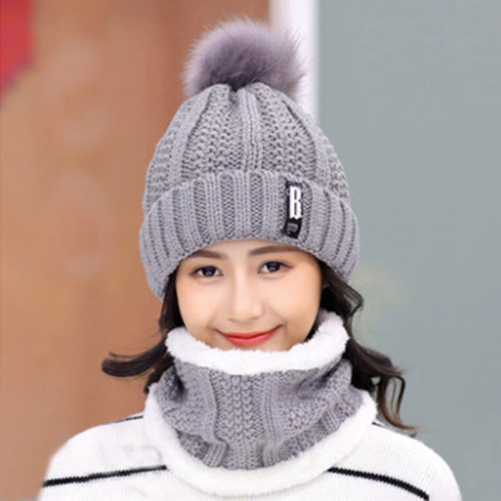 Women Winter Knitted Beanies Hats Thick Warm Beanie Skullies Hat Female Knit Letter Bonnet Beanie Caps Scarf Outdoor Riding Sets