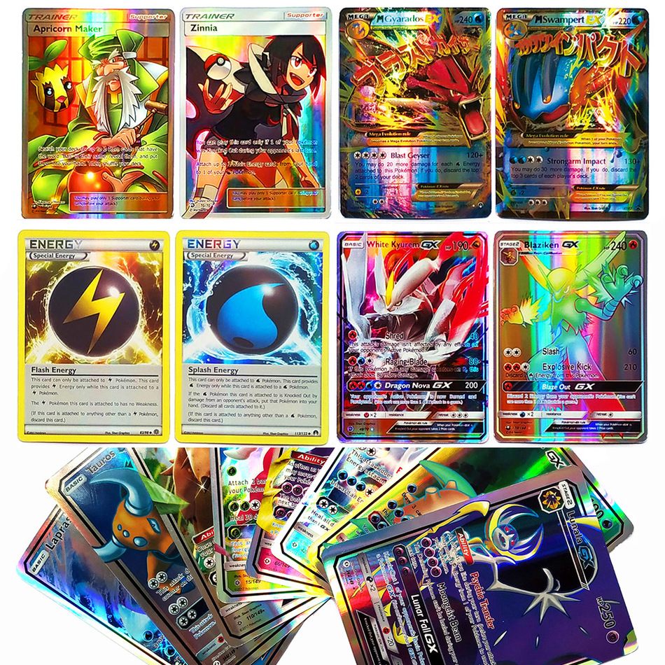 Takara TOMY Shining POKEMON Cards MEGA GX EX Energy Trainer 100pcs 60pcs Toys For Children Energy Battle Game Flash Card