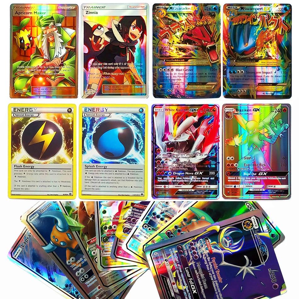 Takara TOMY Shining POKEMON Cards MEGA GX EX Energy Trainer 100pcs 60pcs Toys For Children Energy Battle Game Flash Card