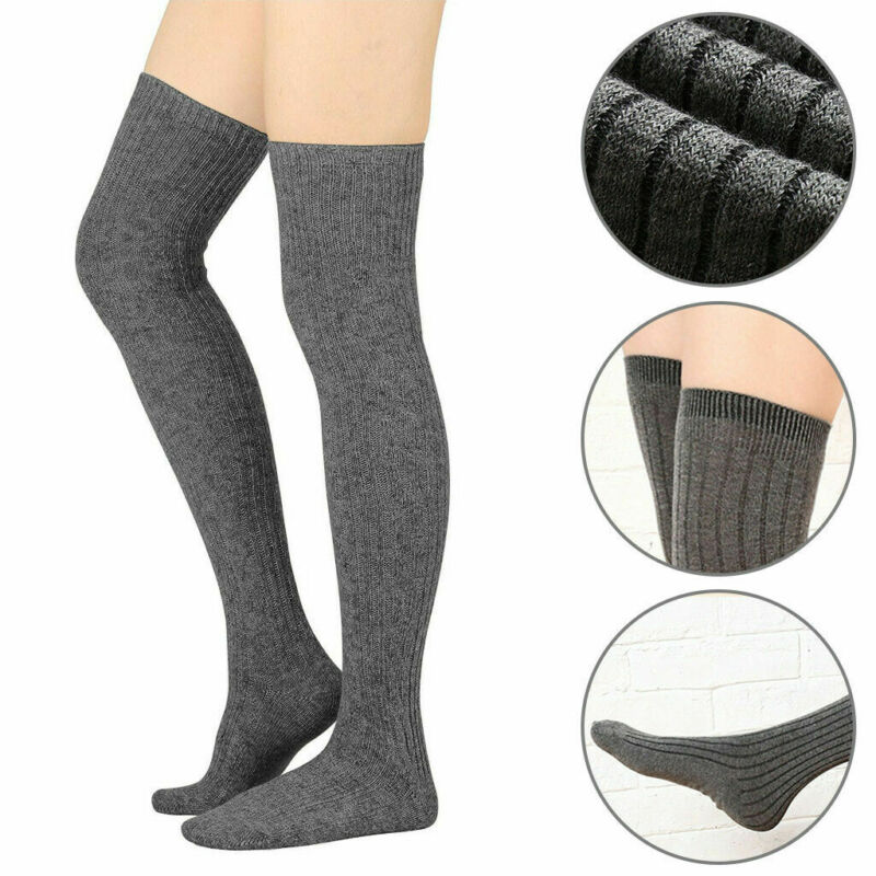 Women Winter Warm Knit Knee Sleeve Stockings Solid Over Knee High Thighs