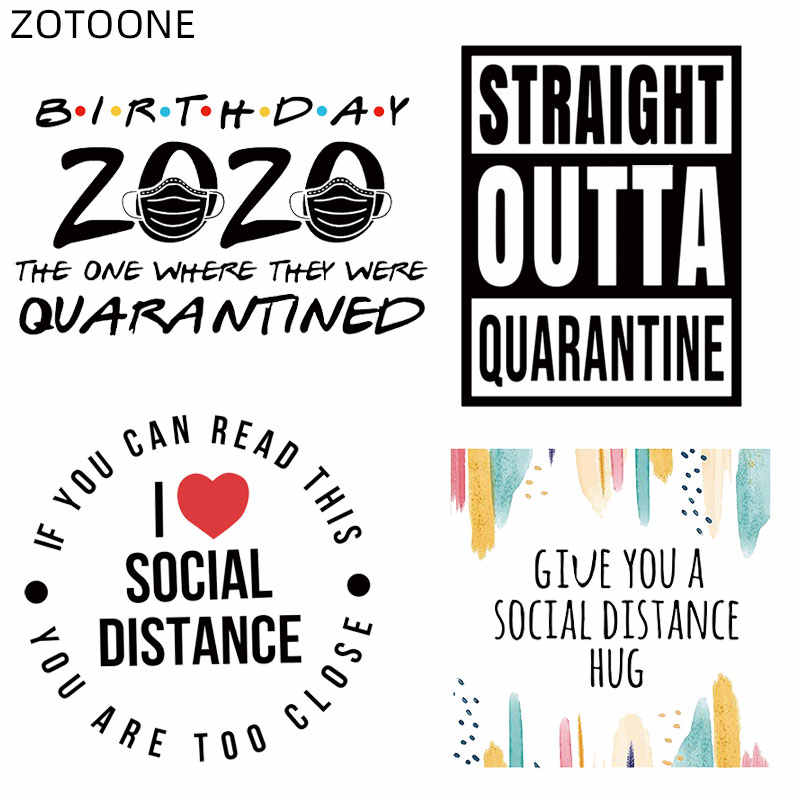 Zotoone Sociale Afstand Patch Voor Kleding Wasbare Warmteoverdracht Voor T-shirt Ijzer Op Brief Patch Sticker Diy Vinyl Applicaties E