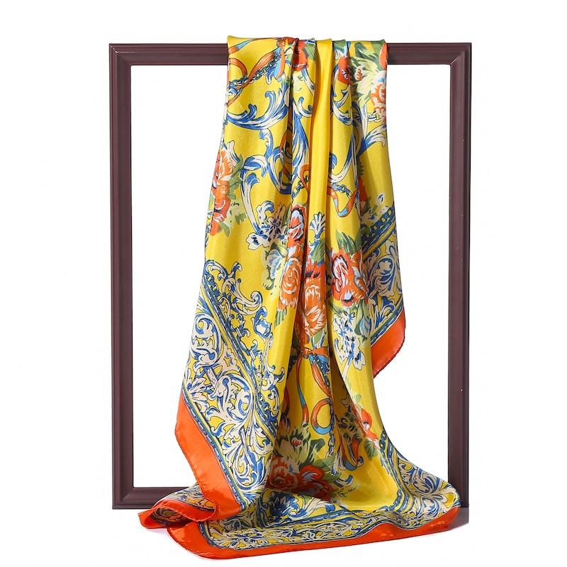 90cm Square Silk Scarf Women Luxury Brand Print Foulard Hijab Shawls Lady Wraps Spring Summer Satin Neck Scarves