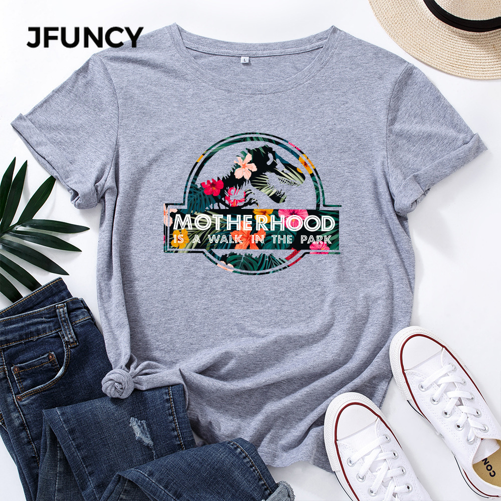 JFUNCY Casual Cotton T-shirt Women T Shirt Motherhood Letter Printed Oversized Woman Harajuku Graphic Tees Tops 1