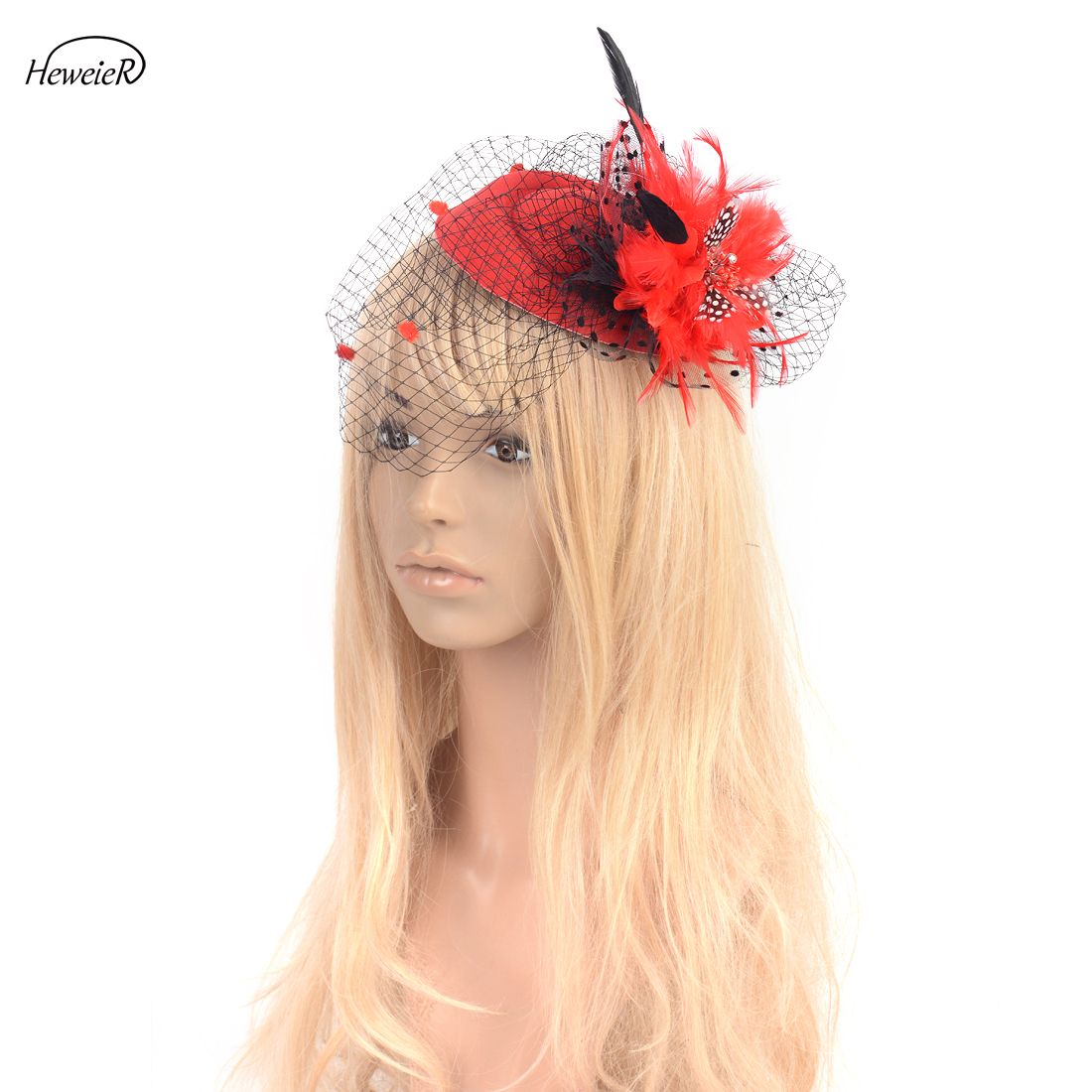 red satin flower fascinator pill box hat hair clip headpiece wedding party