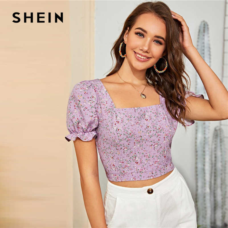 SHEIN Multicolor Backless Verknotet Ditsy Floral Print Crop Top Frauen 2020 Sommer Puff Sleeve Frauen Sexy Blusen und Tops