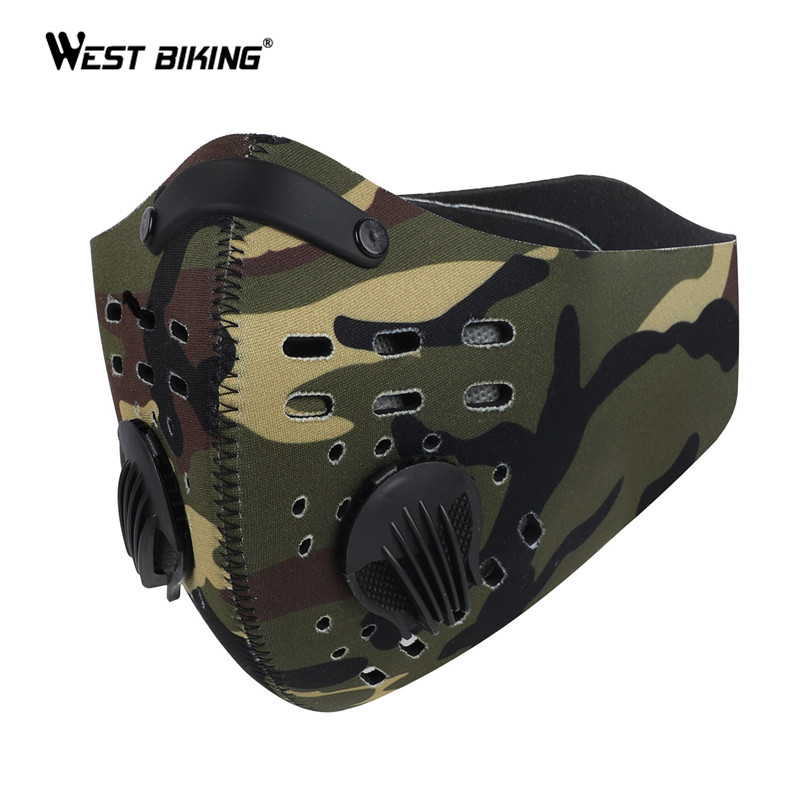 WEST BIKING Sport Face Mask MTB Bike Training Mask PM2.5 Anti Pollution Activated Carbon With Filter Washable  Cycling Mask
