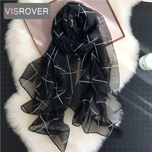 VISROVER new summer women silk scarf with lurex fashion Woman lurex hijab Beach cover ups wraps bandana silk scarves wholesales