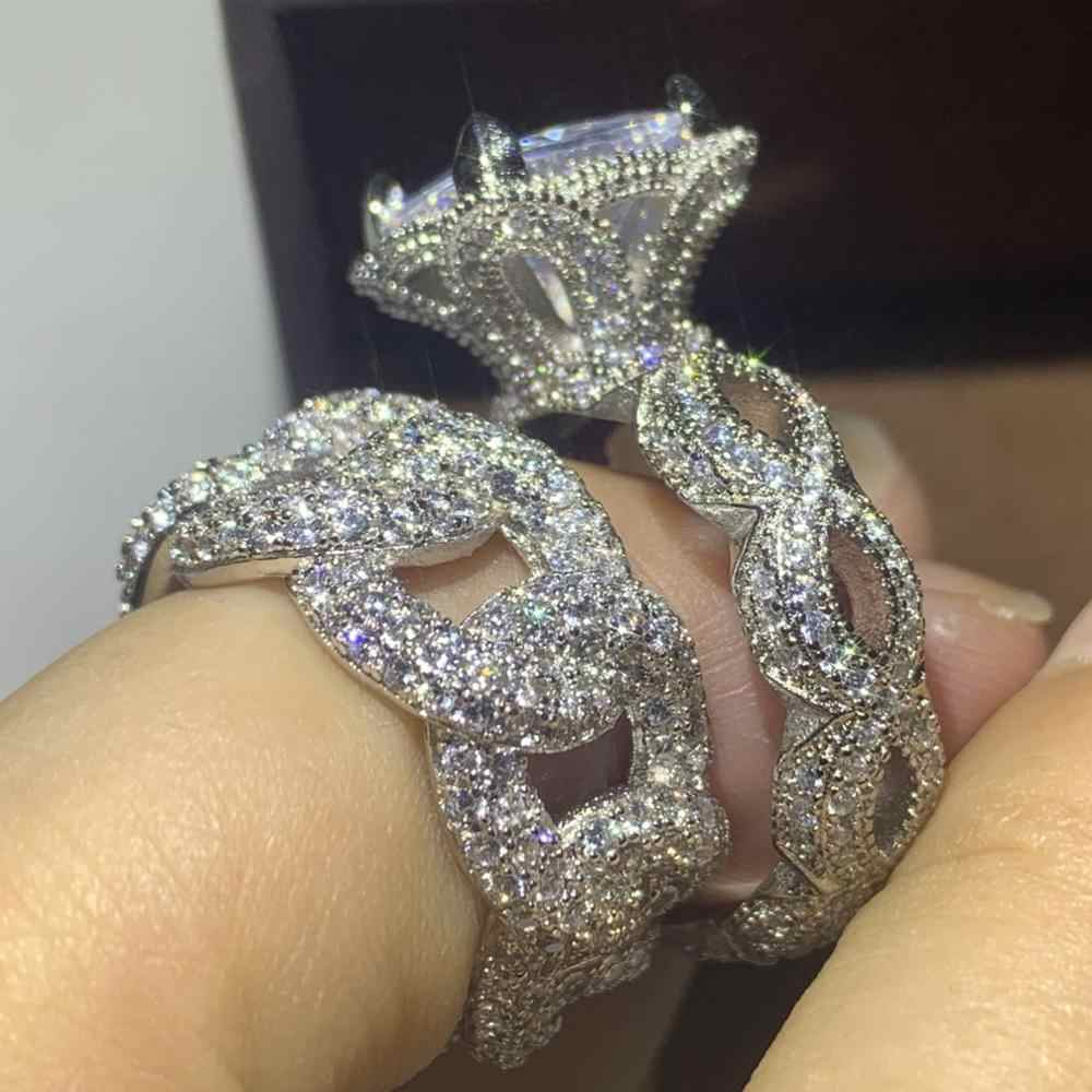 Hip Hop 2019 ขายใหม่ร้อนแฟชั่นเครื่องประดับ 925 เงินสเตอร์ลิง Pave สีขาว CZ ผู้หญิงแต่งงานเจ้าสาวแหวนชุดของขวัญ