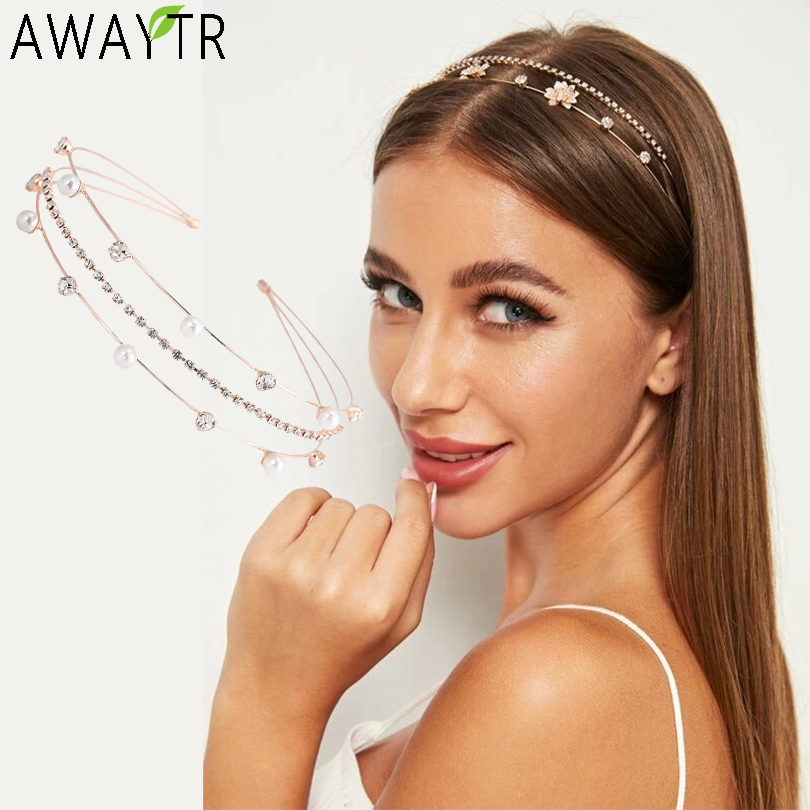 AWAYTR Hair Hoops Fashion Bezel Head Hoop Women Headband Korean Double Row 3 Drainage Hairband Pearl Hair Accessories Tiaras|Women