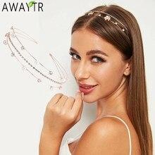 AWAYTR − Bandeau pour cheveux pour femme, cerceau Coréen, double rangée, 3 drainages, accessoire pelliculaire en perles