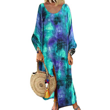 Women O-Neck Dress Autumn Ladies Boho Long Sleeve Maxi Dress Fashion Colorful Robe ropa mujer Casual Loose Dresses vestidos D30 цены