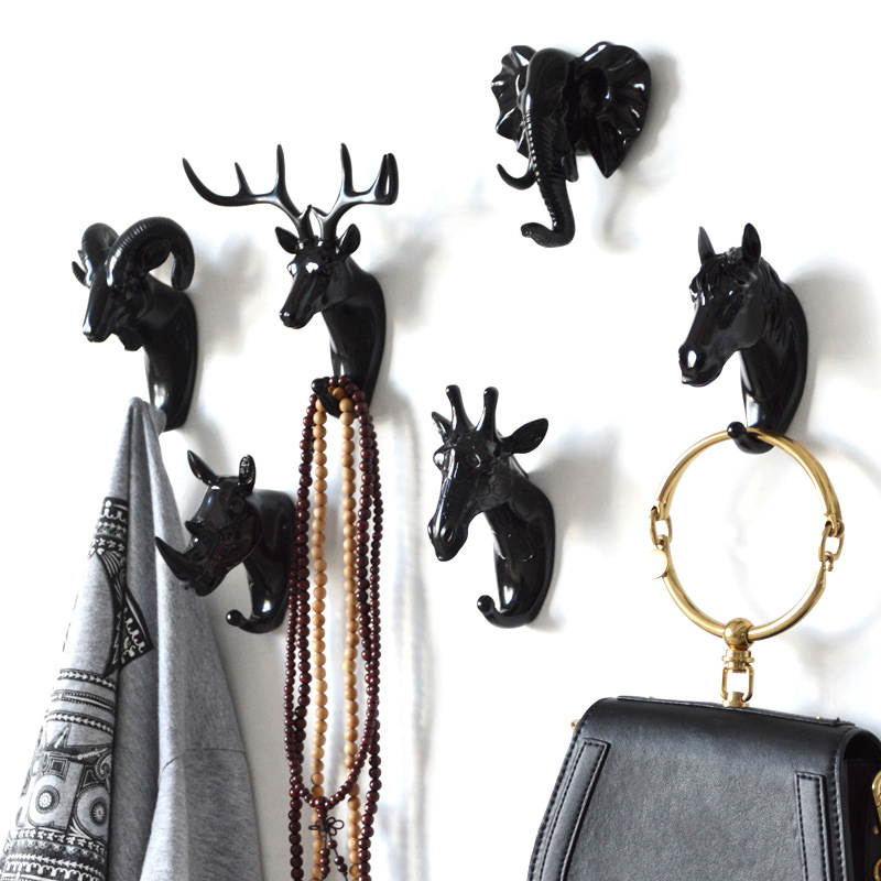 Hooks Keys Holder Wall Home Creative American Hanging Hook Strong Seamless Sticking Hook Decorative Hook Creative Animal Hooks