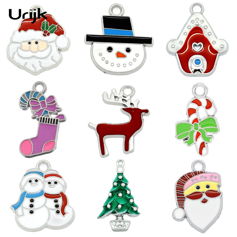 10PCs Christmas Charm Pendants Enamel Christmas Candy Cane Silver Tone Stocking Shiny Christmas Tree Decoration Gift