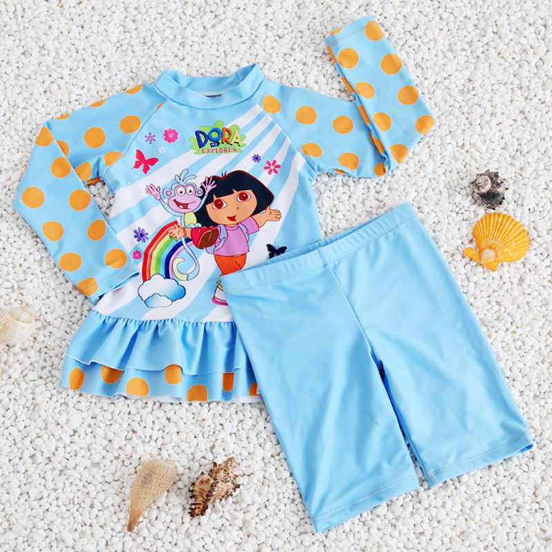 New Style KID'S Swimwear Middle And Large Girls' Two-piece Swimsuit Long Sleeve Trousers Sun-resistant Quick-Dry GIRL'S Swimsuit