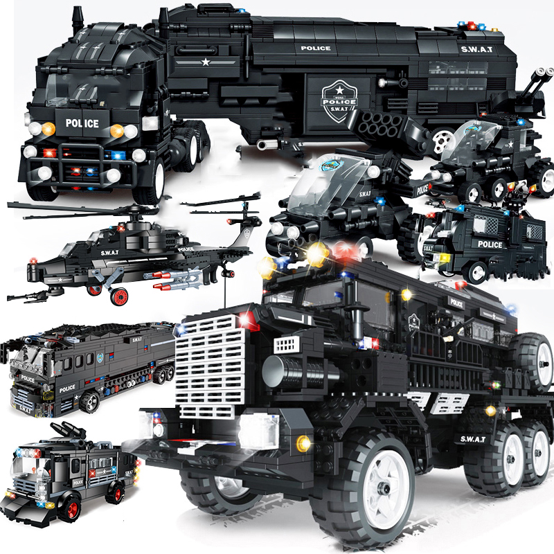 WOMA Compatible Legoed SWAT Military Vehicle Car Police Bus Sets Model Building Kit Bricks Helicopter Block Toys City Arms Truck