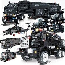 Conjunto de blocos de construção da polícia, helicóptero da cidade de caminhões da patrulha