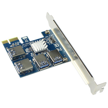PCIE PCI-E PCI Express Riser Card 1x to 16x 1 to 4 USB 3.0 Slot Multiplier Hub Adapter For Bitcoin Mining Miner BTC Devices