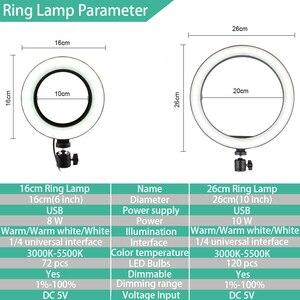 Image 5 - Ring Lamp Video 16/26Cm Dimbare Led Selfie Ring Licht Usb Fotografie Licht Met Statief Voor Telefoon make Up Youtube Tik Tok