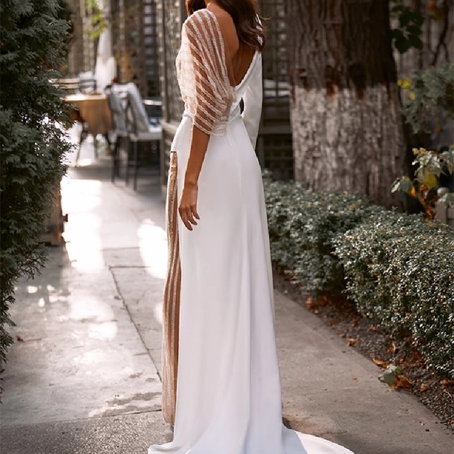 Sexy Jumpsuit Wedding Dresses 2021 Pants Suit Wedding Party Bridal Gown Illusion Tulle Long Sleeve V-Neck Sweep Train Open Back 2